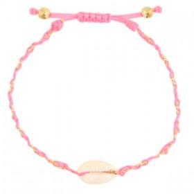armbandje-kauri-gevlochten-neon-roze-gold