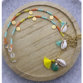 DIY pakket zonnebrilkoord rocailles turquoise geel oranje