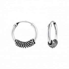 Bali oorbellen hoops mixed chain 5 (12mm) 925 sterling zilver (per paar)