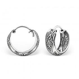 Bali oorbellen wide hoops mix 2 (15mm) 925 sterling zilver (per paar)