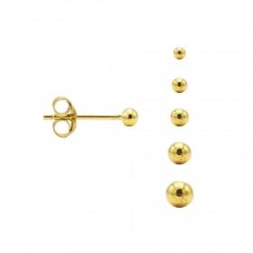 Karma minimalistische oorbellen balls 3mm 925 sterling zilver (goldplated) (per paar)