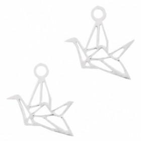 Bedel bohemian geometric bird zilver 10x9mm