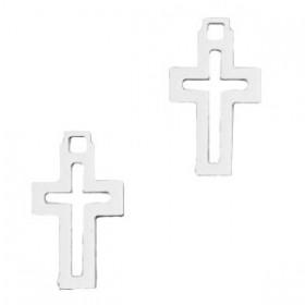 Bedel bohemian kruis zilver 12x7mm