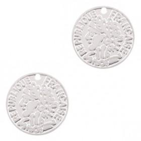 Bedel bohemian muntje zilver 10mm