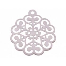 Bedel filigraan bloem zilver 12x17mm
