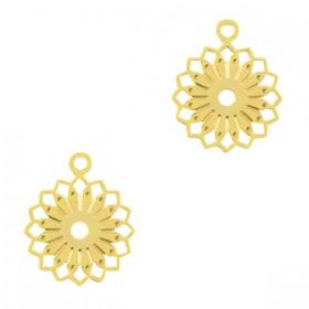 Bedel / hanger bohemian bloem goud 12x10mm
