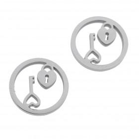 Bedel open circle hartjesslot met sleutel zilver stainless steel 12mm