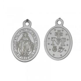 Bedel religie ovaal stainless steel 9x14mm zilver