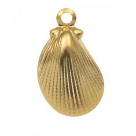Bedel schelp 2 stainless steel goud 12x7mm