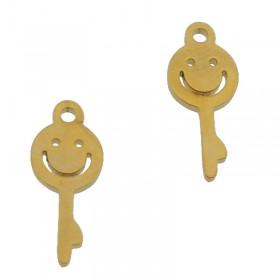 Bedel smiley sleutel stainless steel goud 13mm
