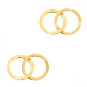 Bedel tussenzetsel double circle goud stainless steel (RVS) 2x15mm