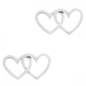 Bedel tussenzetsel double heart zilver stainless steel (RVS) 2x15mm