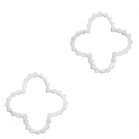 Bedel tussenzetsel flower zilver stainless steel (RVS) 15mm