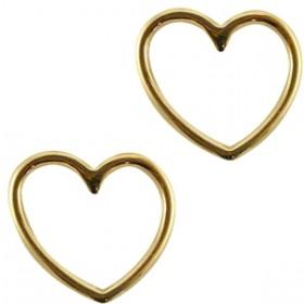 Bedel tussenzetsel goud DQ hartje 15x16mm