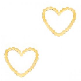 Bedel tussenzetsel heart goud stainless steel (RVS) 15mm