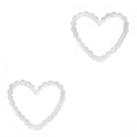 Bedel tussenzetsel heart zilver stainless steel (RVS) 15mm
