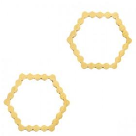 Bedel tussenzetsel hexagon goud stainless steel (RVS) 15mm