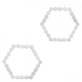 Bedel tussenzetsel hexagon zilver stainless steel (RVS) 15mm