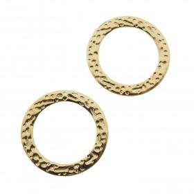 Bedel tussenzetsel open cirkel bewerkt goud stainless steel 15mm