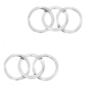 Bedel tussenzetsel triple circle zilver stainless steel (RVS) 3x15mm