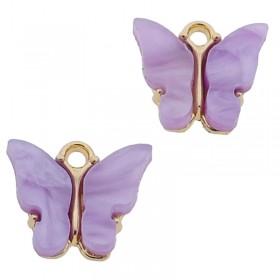 Bedel vlinder paars goud 13x15mm