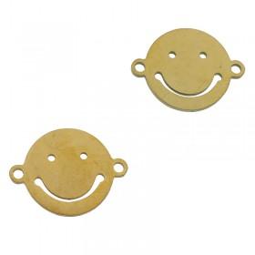 Bedel tussenzetsel smiley goud stainless steel 16mm