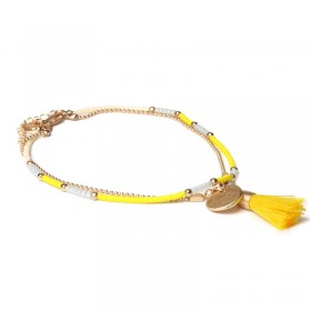 Biba enkelbandje dubbele ketting gele kraaltjes met kwastjes goud
