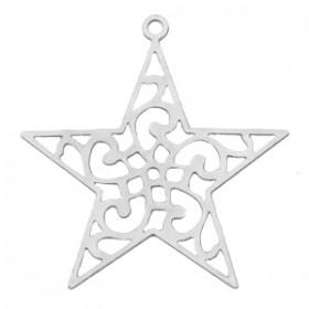 Bohemian hanger / bedel met oog ster 28x27mm zilver