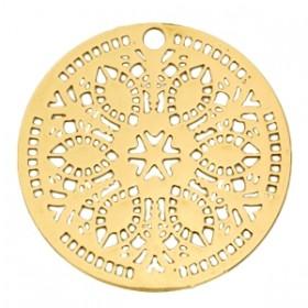 Bohemian hanger / bedel rond 36mm goud