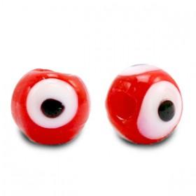 Boze oog glaskraal rood 6mm