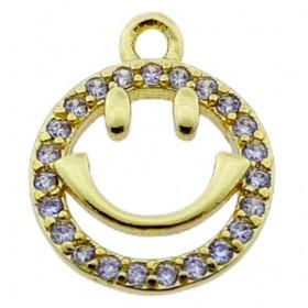 Brass metalen bedel smiley met zirconia goud 14mm