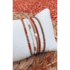 DIY pakket armbanden set frosted red beige met zoetwaterparel