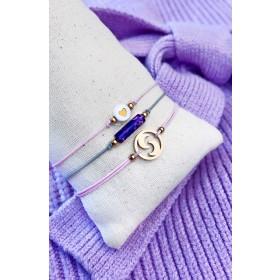 DIY pakket armbanden set maan natuursteen en hartje pink grey