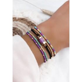 DIY pakket armbanden setje turquoise met paarse natuursteen
