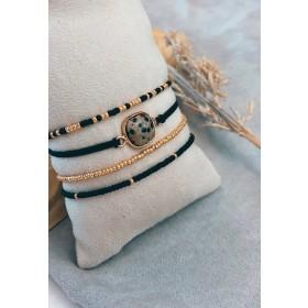 DIY pakket armbanden setje zwart goud met natuursteen
