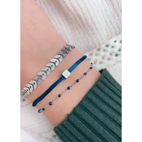 DIY pakket donkerblauwe armbandenset heart & leafs stainless steel