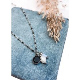 DIY pakket fijne zwart-zilvere bolletjes schakelketting met hangertjes