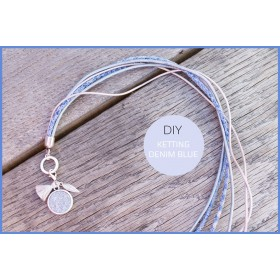 DIY pakket ketting light denim blue