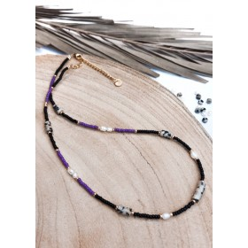 DIY pakket ketting paars, zwart zoetwaterparels met dalmatiër disc kralen