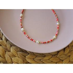 DIY pakket kralenketting red pink mix met zoetwaterparels