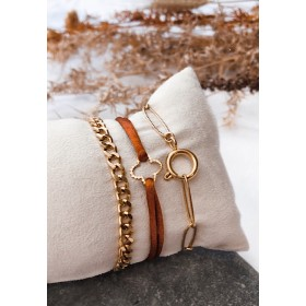 DIY pakket luxe armbandenset oranjebruin goud rvs