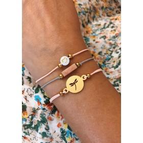 DIY pakket roze grijze set armbandjes met libelle, natuursteen en hartje