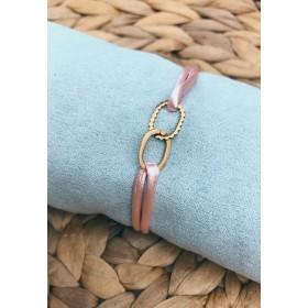 DIY pakket roze satijnen armband met verbonden ovale cirkels tussenzetsel