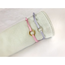 DIY pakket satijnen armband met verschuifbare knoop lichtroze
