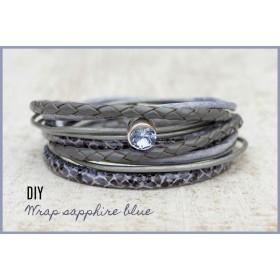 DIY pakket wikkelarmband Sapphire blue