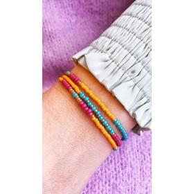 DIY pakket kralenketting of wikkelarmband paars, blauw en oranje