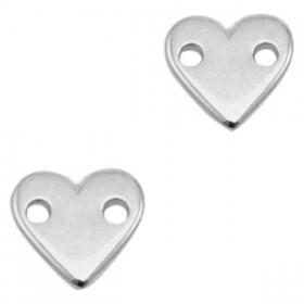 DQ bedel rond hart 11x10mm zilver