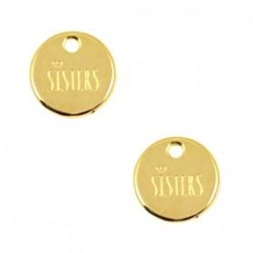 DQ bedel rond 'sisters' 12mm goud