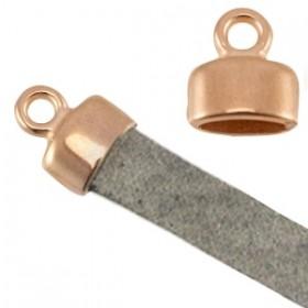 DQ eindkap 9x8mm rosé goud (geschikt voor 5mm plat leer/koord)