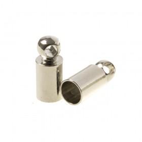 DQ eindkap antiek zilver (geschikt voor 3mm leer/koord)